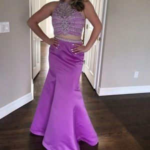Rachel Allan mermaid pageant prom gown 2pc halter